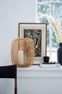 Bamboe lantaarn windlicht buiten/binnen