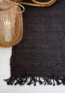 Vloerkleed jute rechthoek zwart fairtrade