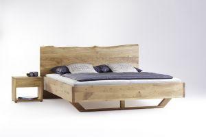 Zwevend bed met boomstam hoofdbord Exclusiv massief wild eikenhouten bed