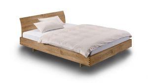Zwevend massief houten bed STEP-X met gebogen hoofdbord Holzmanufaktur